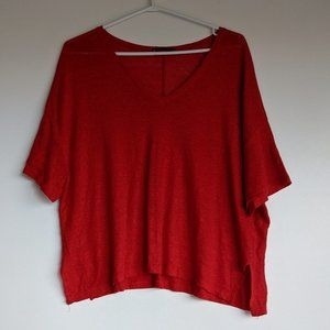 Zara Basic Collection Oversize Tee Red Size Small